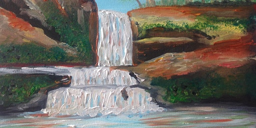 Paint and Sip Brisbane 2 for 1 offer Southbank includes drinks- waterfalls