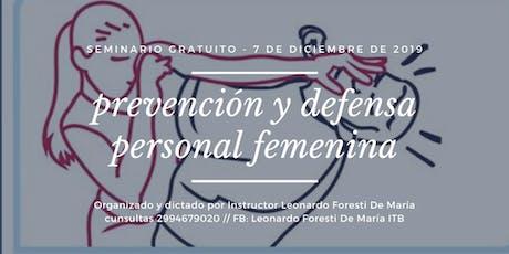 Seminario Gratuito Prevención y Defensa Personal Femenina   entradas