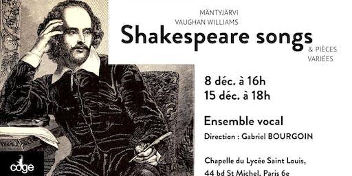 Shakespeare Songs - concerts de l'Ensemble Vocal du COGE - 8 décembre