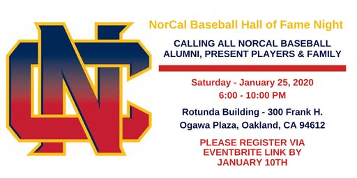 NorCal Baseball Hall of Fame Night - January 25, 2020