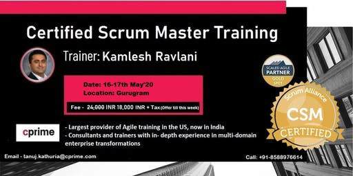 CPrime Certified ScrumMaster Training in Gurugram May