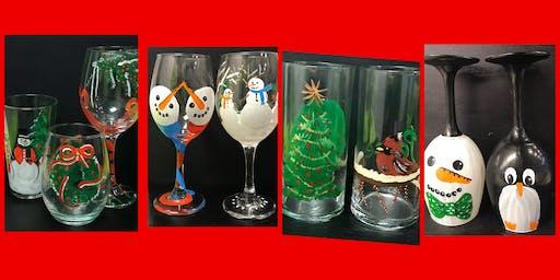 """Open Paint (8yrs+) """"Christmas Glasses & Vases"""""""