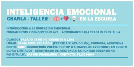Charla-taller 'Inteligencia Emocional en la Escuela' entradas