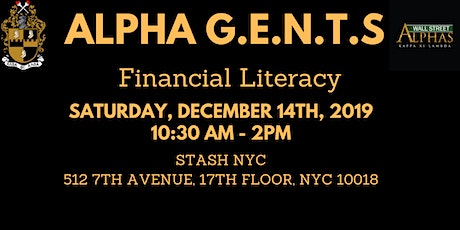 """Alpha G.E.N.T.S """"Financial Literacy"""" Session tickets"""