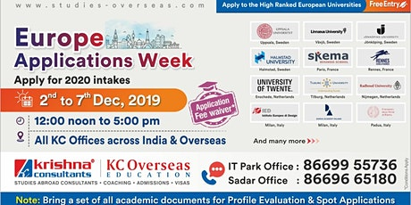 Attend Europe Applications Week - 2nd to 7th Dec 19 at KC Nagpur tickets