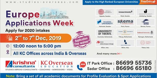Attend Europe Applications Week - 2nd to 7th Dec 19 at KC Nagpur