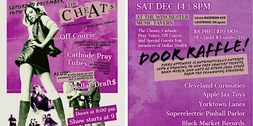 The Cheats, Off Course, Cathode Pray Tubes, PLUS special guests