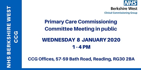 Primary Care Commissioning Committee (PCCC) - 8 January 2020 tickets