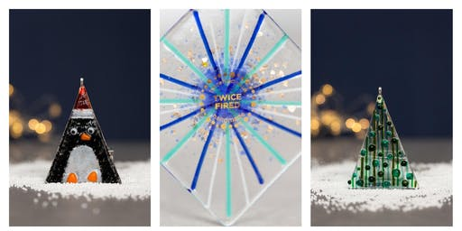 Festive  Fused glass decoration/present making workshop Saturday 14th Dec 11-1pm Mulled wine, prosecco and mince pies