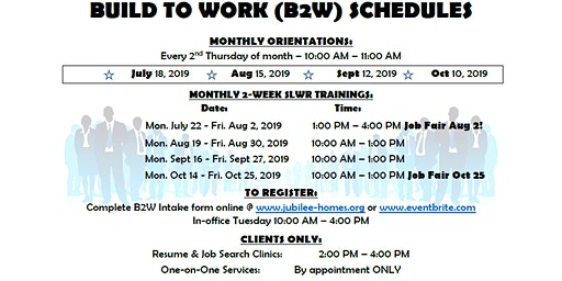 Build 2 Work Softskills, Lifeskills and Work Readiness Training Dec. 2019