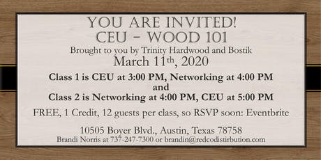 CEU - Wood 101 Brought to you by Trinity Hardwood and Bostik tickets