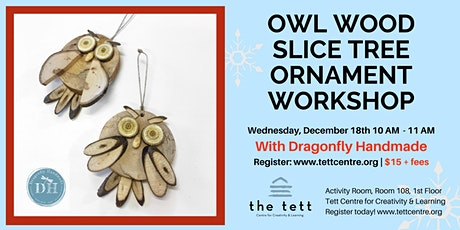 Owl Wood Slice Tree Ornament Workshop  tickets