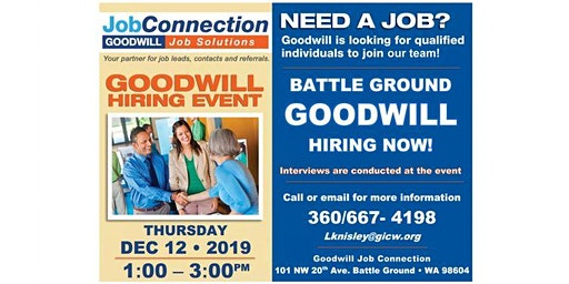 Goodwill is Hiring - Battle Ground - 12/12/19