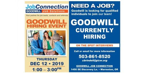 Goodwill is Hiring - Warrenton - 12/12/19