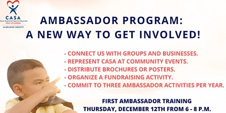 CASA OF MIDDLESEX COUNTY LAUNCHES AMBASSADOR PROGRAM, SEEKS AMBASSADORS tickets