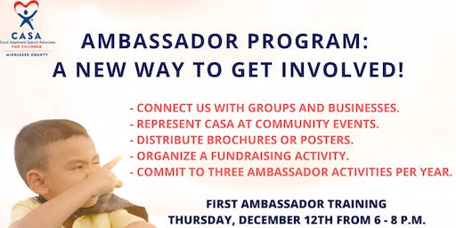CASA OF MIDDLESEX COUNTY LAUNCHES AMBASSADOR PROGRAM, SEEKS AMBASSADORS