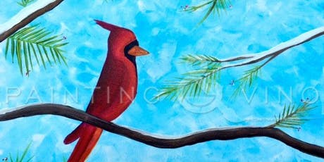 Fun afternoon with Paint and Vino to learn how to paint 'Winter Cardinal' tickets
