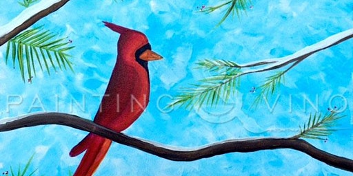 Fun afternoon with Paint and Vino to learn how to paint 'Winter Cardinal'