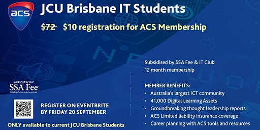 ACS Membership for JCU Brisbane IT Students ONLY