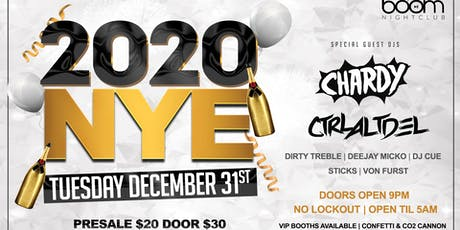 Boom Nightclub 'NYE 2020' Feat Chardy & Ctrl Alt Del tickets