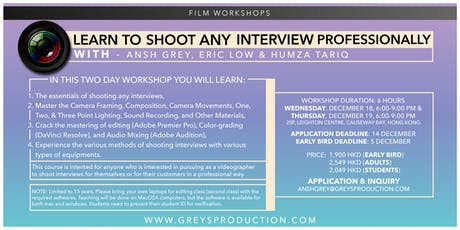 Shooting any interview professionally tickets