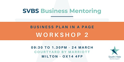 Business Plan on a Page -  Workshop 2