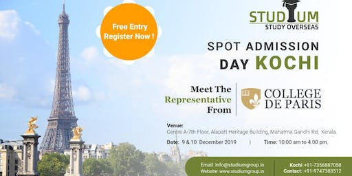 Spot Addmission For France in Kochi on 9th Dec (2020 Feb Intake!!)