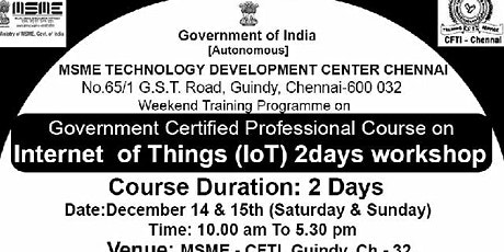 MSME - Government Certified professional IoT Bootcamp (2 Days) tickets