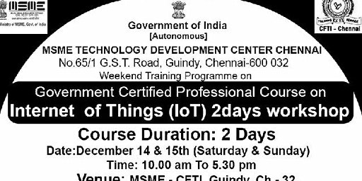 MSME - Government Certified professional IoT Bootcamp (2 Days)
