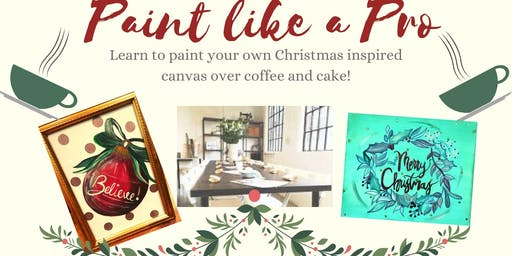 Paint like a Pro- Paint a Christmas Inspired Canvas with Calligraphy Quote