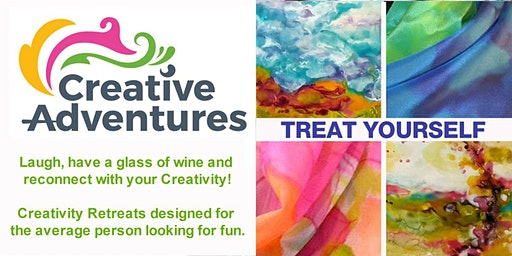 Encaustic and Hand Painted Silk Scarf Creative Adventure (Wine & Food Incl)