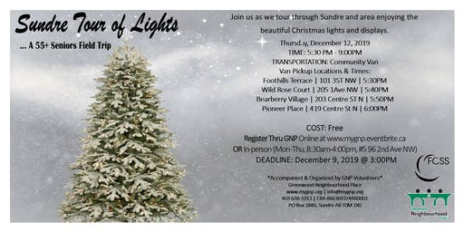 55+ Seniors - Sundre Tour of Lights
