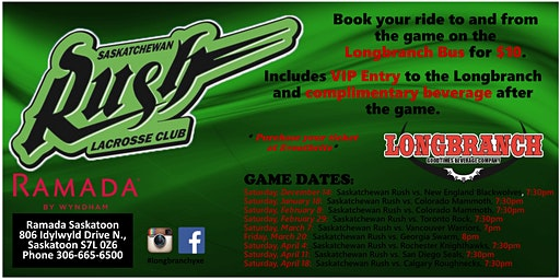 Saskatchewan Rush vs Colorado Mammoth Saturday Jan 18/20