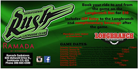 Saskatchewan Rush vs Toronto Rock Feb.29/20 tickets