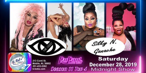 Yvie Oddly and Silky N. Ganache at B-Bob's during the holidays!