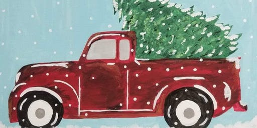 who doesn't love to have a red truck with christmas tree