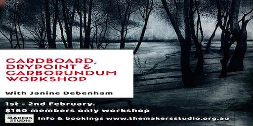 CARDBOARD DRYPOINT AND CARBORUNDUM