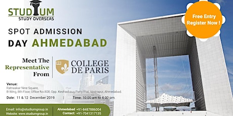 Spot Addmission For France in Ahemdabad on 11 -12th Dec (2020 Feb Intake!!) tickets