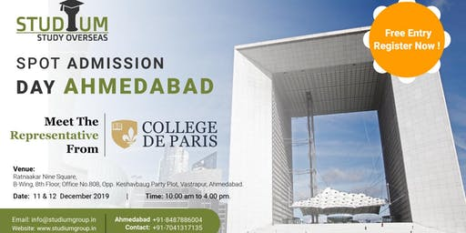 Spot Addmission For France in Ahemdabad on 11 -12th Dec (2020 Feb Intake!!)