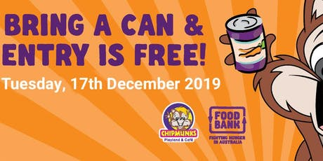 FREE ENTRY DAY CHIPMUNKS MACQUARIE- Swap a can of food for a good cause tickets