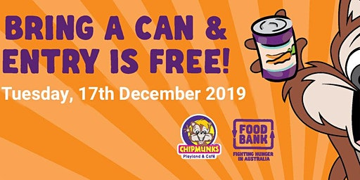 FREE ENTRY DAY CHIPMUNKS MACQUARIE- Swap a can of food for a good cause