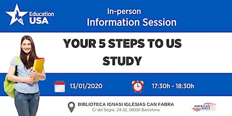 """SESIÓN INFORMATIVA EN BARCELONA - """"Los 5 pasos para estudiar en EE.UU."""" entradas"""
