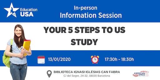 """SESIÓN INFORMATIVA EN BARCELONA - """"Los 5 pasos para estudiar en EE.UU."""""""