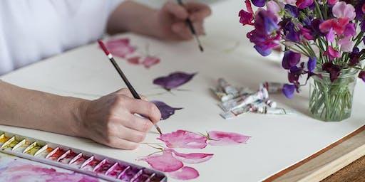 Watercolour Workshop - loose style painting, seasonal flowers & foliage