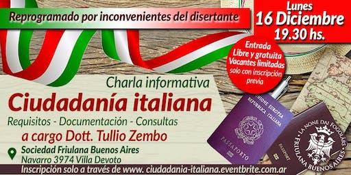 Charla informativa sobre la Ciudadanía italiana - Dott. Tullio Zembo