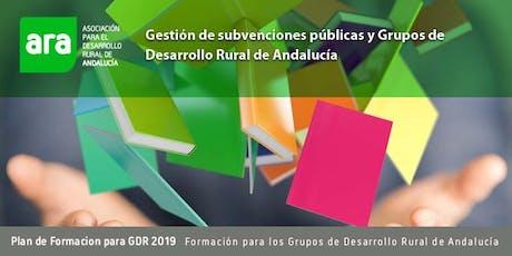 CURSO:  GESTIÓN DE SUBVENCIONES PÚBLICAS Y GRUPOS DE DESARROLLO RURAL bilhetes