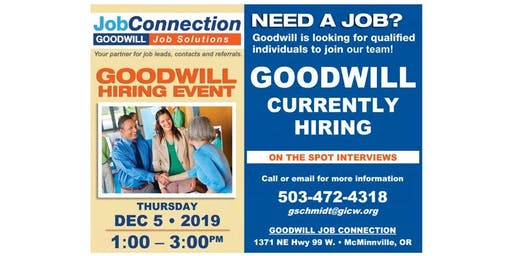 Goodwill is Hiring - McMinnville - 12/5/19