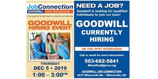 Goodwill is Hiring - Wilsonville - 12/5/19
