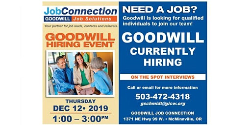 Goodwill is Hiring - McMinnville - 12/12/19