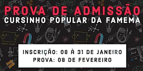 Prova de Admissão Cursinho Popular da FAMEMA ingressos